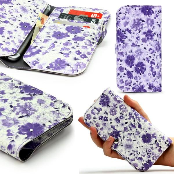 Urcover® Apple iPhone 6 / 6s Schutz Hülle Kartenfach Case Cover Flower Power