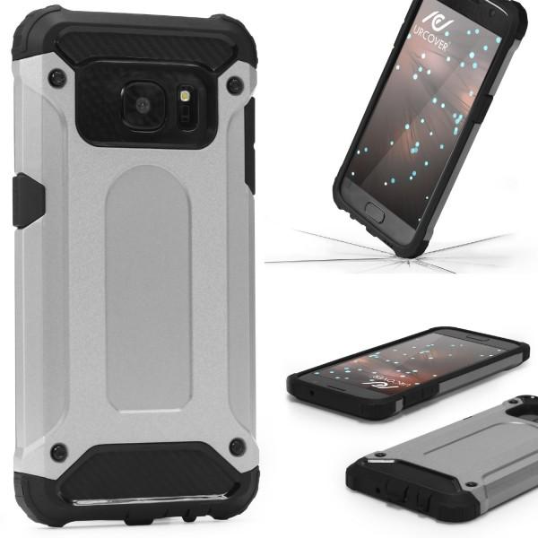 Samsung Galaxy S7 OUTDOOR Schutz Hülle TOP Cover Back Case Carbon Optik Etui