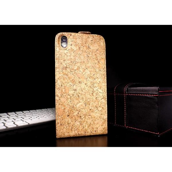 Urcover® HTC Desire 816 Kork Schutz Hülle Flip Wallet Case Cover Schale Etui