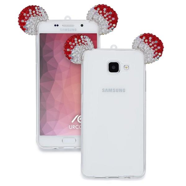 Samsung Galaxy A5 (2016) TPU Maus Ohren Bling Ear Schutz Hülle Cover Glitzer