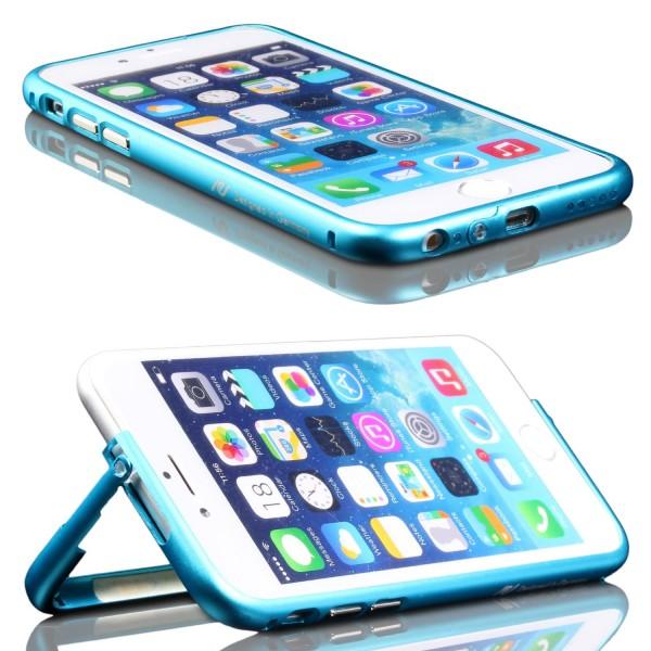 Urcover® Apple iPhone 6 / 6s Alu Bumper Schutzhülle Standfunktion Kantenschutz