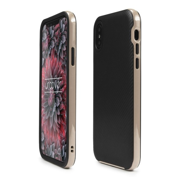 Urcover® Apple iPhone X Hybrid Case Carbon Style Schutzhülle Cover Dual Layer TPU PC