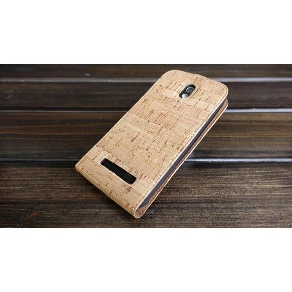 Urcover® HTC Desire 500 Kork Flip Schutz Hülle Case Cover Wallet Etui Schale