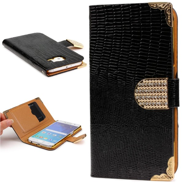 Urcover® Samsung Galaxy S6 Hülle Kartenfächer Flip Case Cover Wallet Crocodile