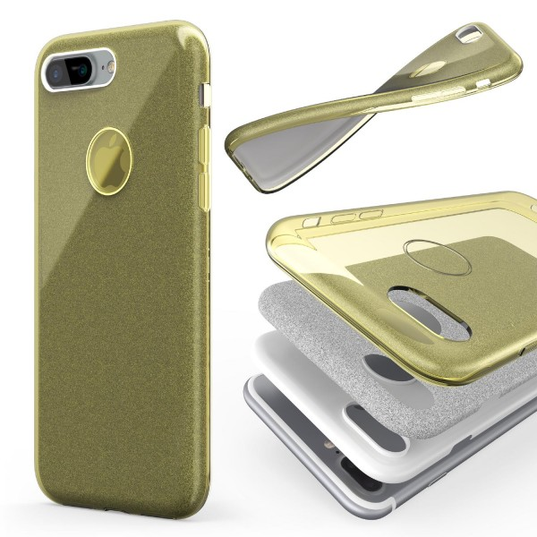 Urcover® Apple iPhone 7 Plus 2 in 1 Glitzer Schutz Hülle Bling Case Cover Tasche