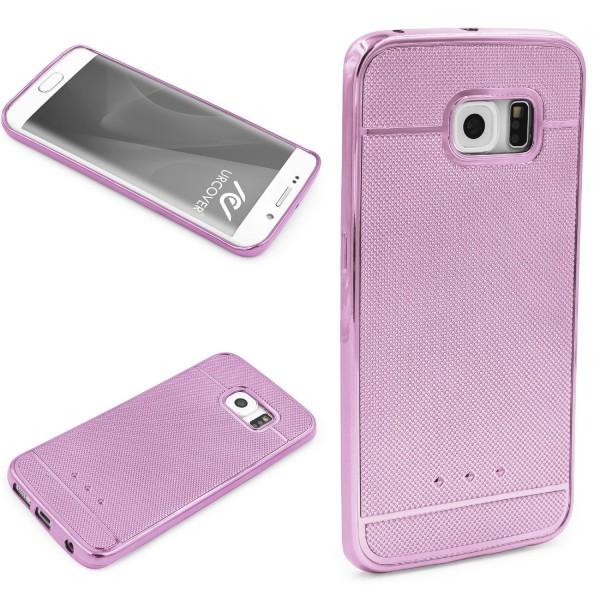 Urcover® Samsung Galaxy S6 Edge Schutz Hülle Metall Optik Silikon Soft Back Case