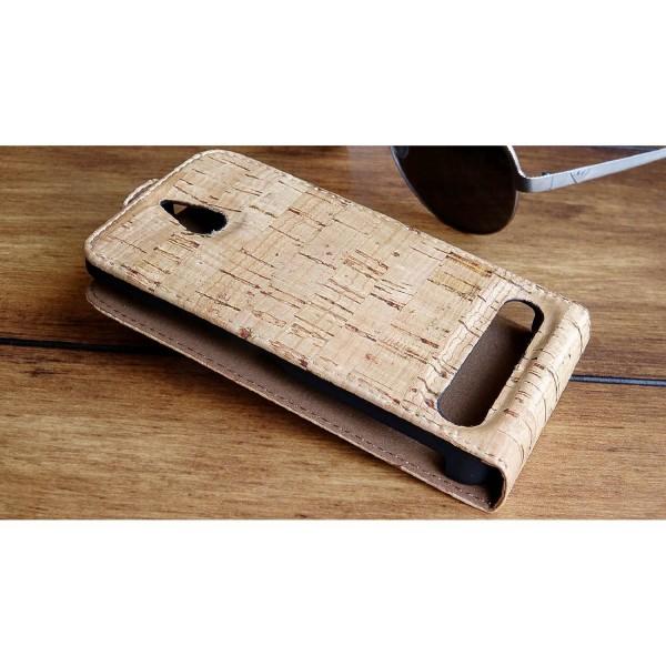 Urcover® Sony Xperia E1 Kork Flip Schutz Hülle Case Cover Wallet Etui Schale