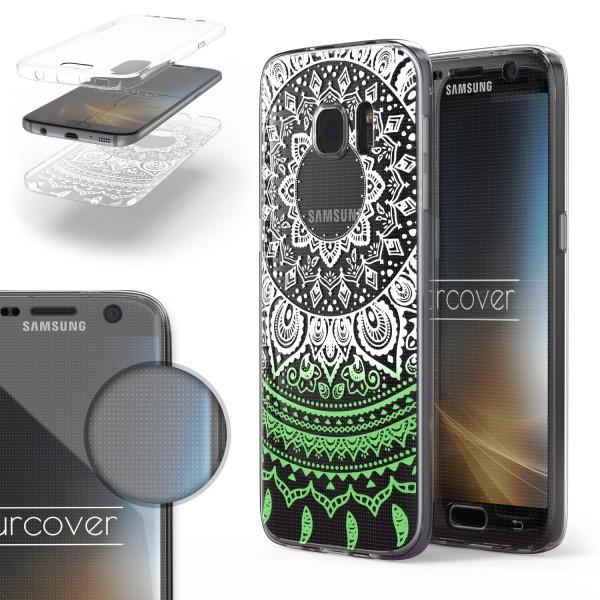 Samsung Galaxy S7 360 Grad Mandala Rücken Hülle Case Cover Rundum Schutz TPU