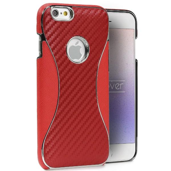 Apple iPhone 6 / 6s Carbon Optik Handy Schutzhülle Wallet Case Cover Etui Schale