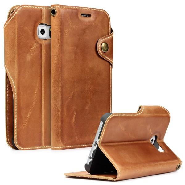 Akira Echt Leder Handy Schutz Hülle Samsung Galaxy S6 Edge Plus Wallet Cover Case