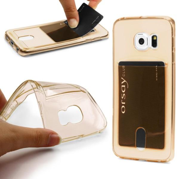Urcover® Handy Schutz Hülle Samsung Galaxy S6 Edge Kartenfach Silikon Case Cover