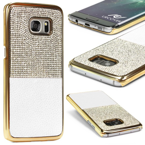 Urcover Samsung Galaxy S7 Edge Schutz Hülle Glitzer Bling Back Case Cover Strass