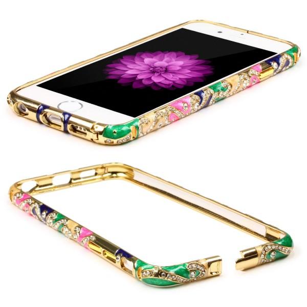 Urcover® Apple iPhone 6 / 6s Schutzhülle Kanten Bumper Glitzer Case Bling Cover