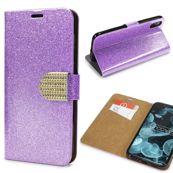 Urcover® Apple iPhone X Strass Bling Diamant Handy Flip Hülle Glitzer Wallet Case Cover Etui