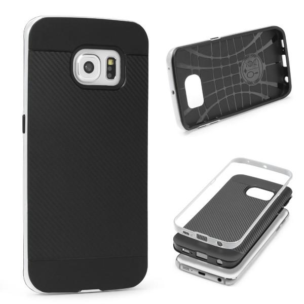 Samsung Galaxy S6 Edge Plus Back Case Carbon Style Cover Dual Layer Schutzhülle