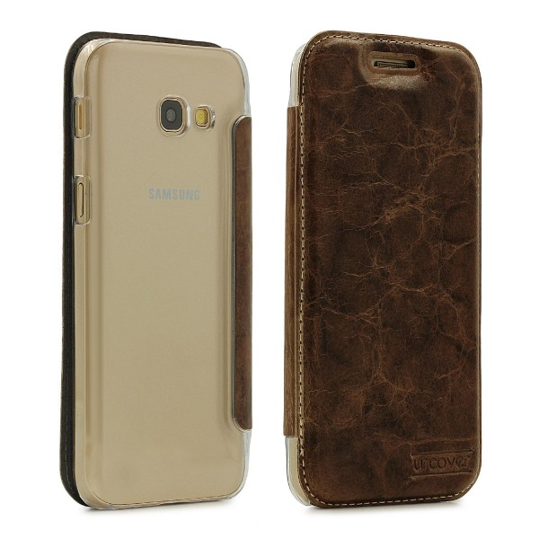 Samsung Galaxy A3 (2017) Echt Leder Schutz Hülle Case Cover klar Tasche Schale
