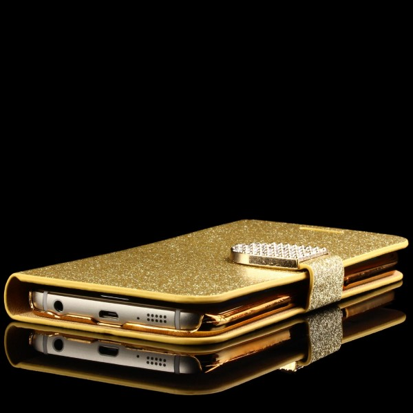 Samsung Galaxy S6 Edge Strass Bling Diamant Handy Flip Hülle Glitzer Wallet Case