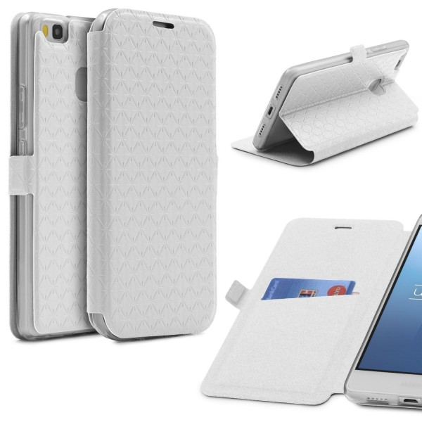Huawei P9 Lite Klapp Handy Schutz Hülle Sichtfenster Kartenfach Standfunktion