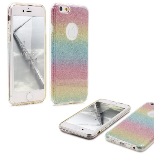 Urcover® Apple iPhone 6 / 6s 2 in 1 Glitzer Schutz Hülle Bling Case Cover Tasche