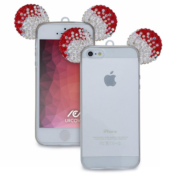Apple iPhone 5 / 5s / SE TPU Maus Ohren Bling Ear Schutz Hülle Cover Glitzer