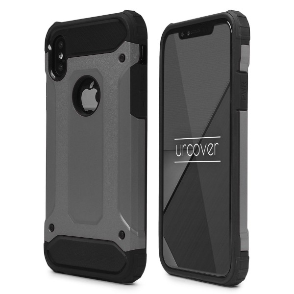 Urcover® Apple iPhone X Hybrid Case Steel Series Schutzhülle Cover Dual Layer TPU PC