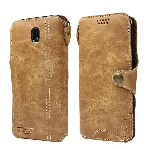 Samsung Galaxy J5 2017 Echt Leder Schutz Hülle Case Cover Flip Etui Ledertasche
