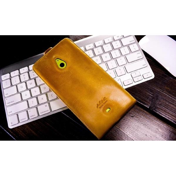 Akira Nokia Lumia 1320 Handmade Echtleder Schutzhülle Flip Wallet Ledertasche