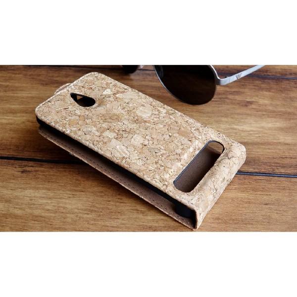Urcover® Sony Xperia E1 Kork Schutz Hülle Flip Wallet Case Cover Schale Etui