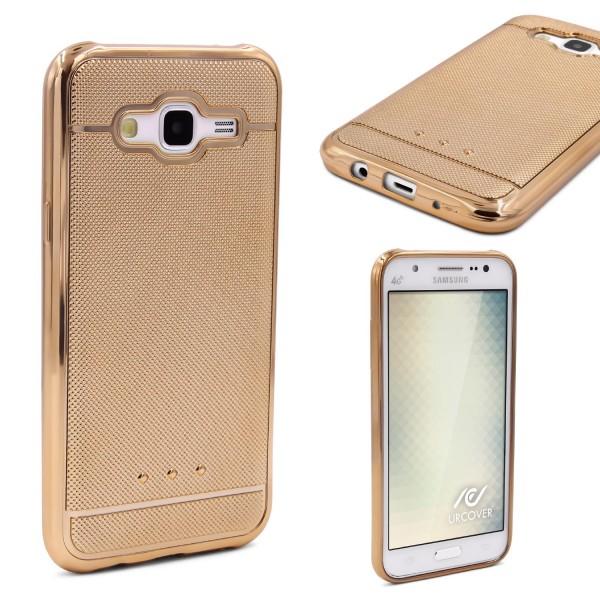 Urcover® Samsung Galaxy J1 (2015) Schutz Hülle Metall Optik Silikon Soft Case