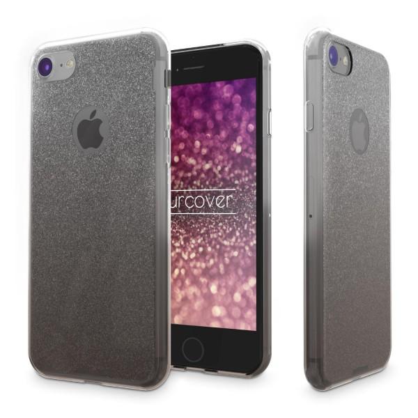 Urcover® Apple iPhone 8 Soft Glitzer 2 farbig Schutz Hülle Gel Silikon Einlage Strass