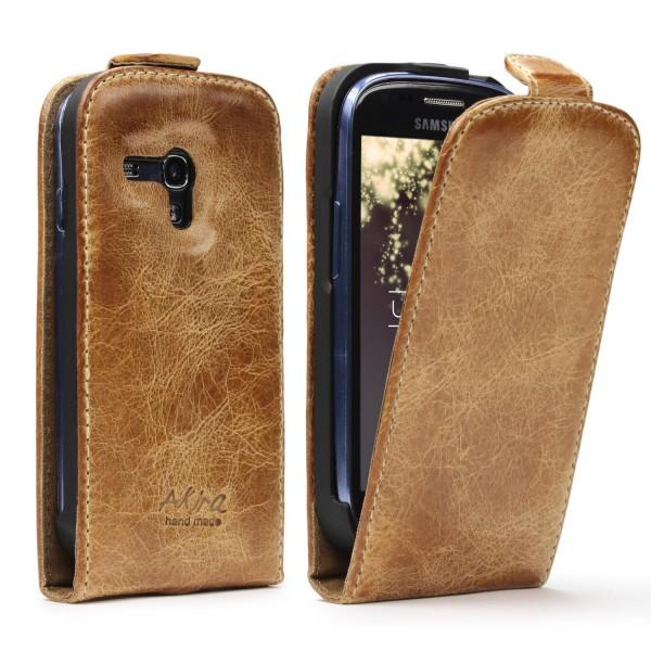 Akira Samsung Galaxy S3 Mini Echtleder Schutzhülle Flip Case Wallet Tasche Etui