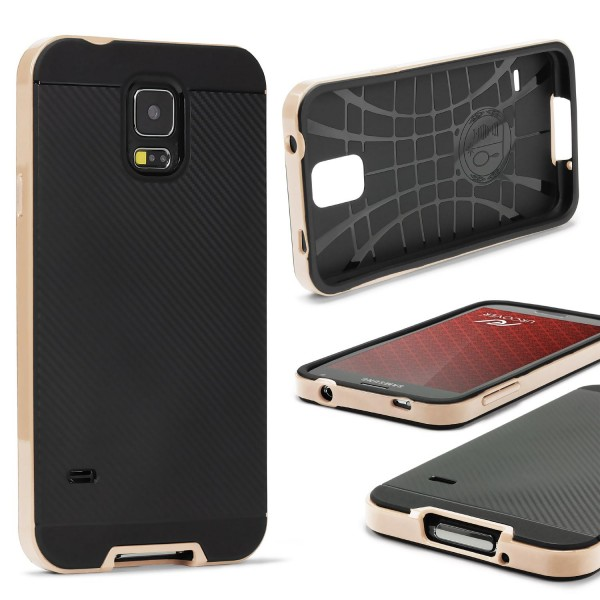 Samsung Galaxy S5 Case Carbon Style Schutzhülle Cover Dual Layer TPU