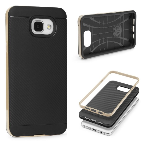 Samsung Galaxy A7 (2016) Case Carbon Style Cover Dual Layer Schutz Hülle TPU