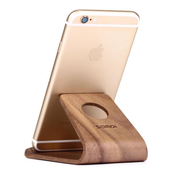 Urcover® Echt Holz Universal Handy Ständer Schreibtisch Stand Smartphone Edel