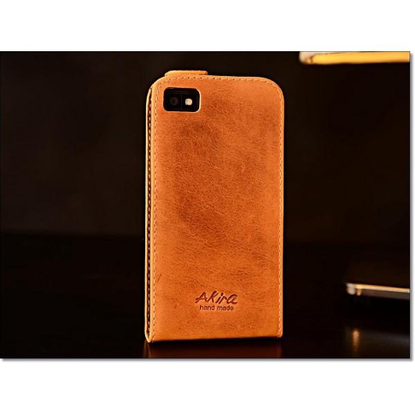 Akira Blackberry Z10 Handmade Echtleder Schutzhülle Flip Ledertasche Wallet Etui