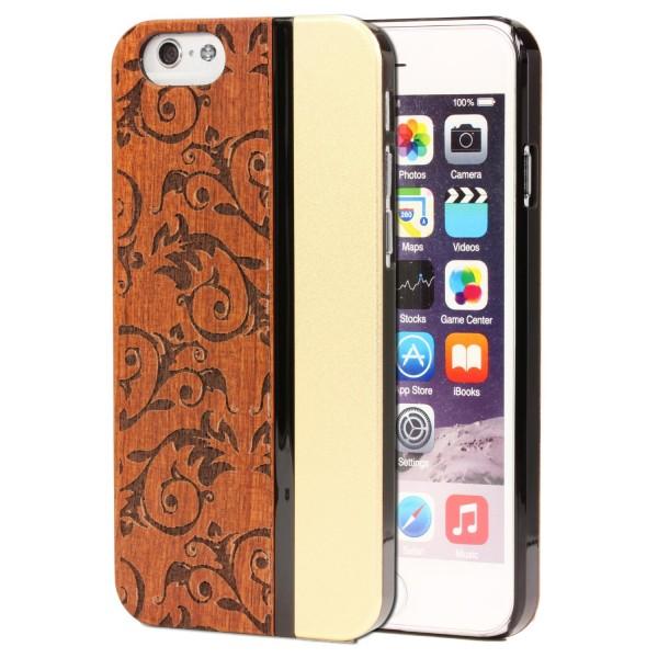 Urcover® Handy Schutz Hülle für Apple iPhone 6 / 6s Case Holz Optik Cover Tasche Schale