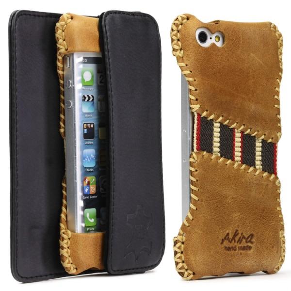 Apple iPhone 5 / 5s / SE Akira Echt Leder Handy Schutz Hülle Case Cover Etui