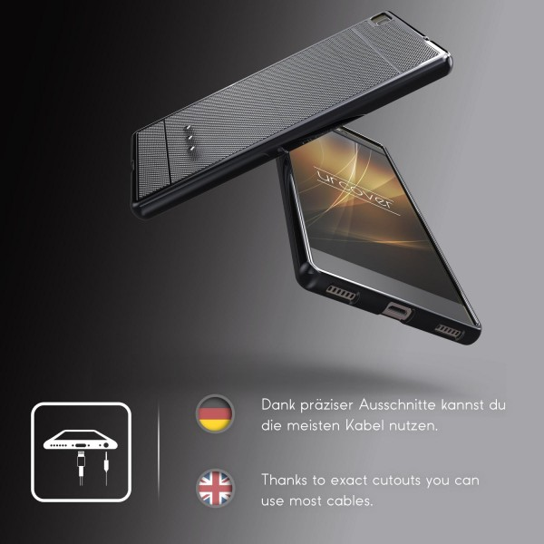 Urcover® Huawei P8 Schutz Hülle Metall Optik Silikon Soft Back Case