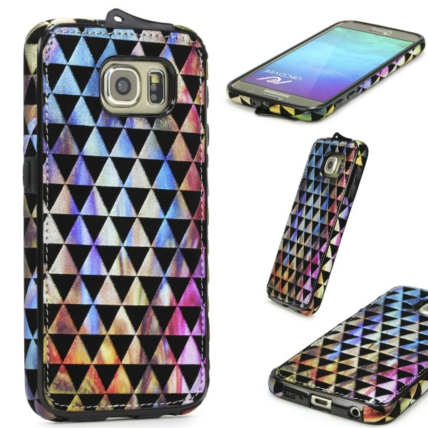 Urcover® Samsung Galaxy S6 Schutz Hülle Stoff Muster Soft Case Cover Etui