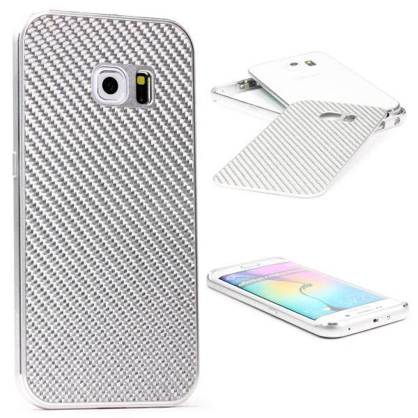 Samsung Galaxy S6 Edge Echt Carbon Back Case Handy Schutz Hülle Bumper Aluminium