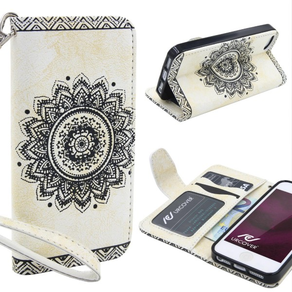 Apple iPhone 5 / 5s / SE Schutz Hülle Wallet Klapp Schale Lotus Pattern Case