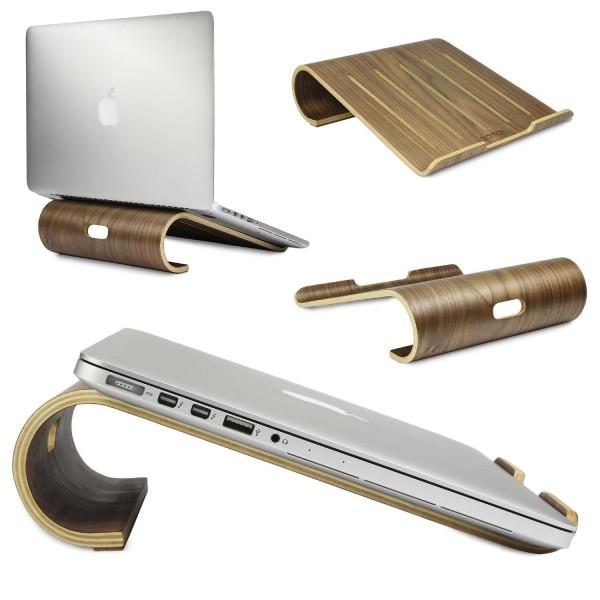 Urcover® Echt Holz Laptop Notebook Halterung Schreibtisch Ständer Hell