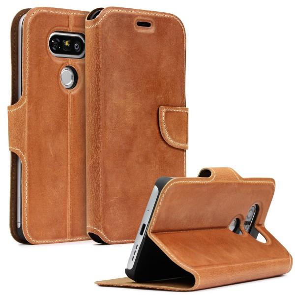 Akira LG G5 Echtleder Schutzhülle Case Cover Wallet Flip Vintage Handmade Etui