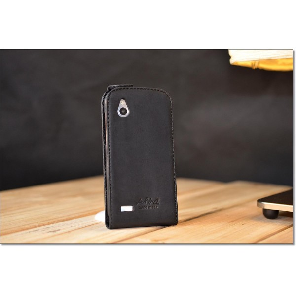Akira HTC Desire X Handmade Echtleder Klapp Schutzhülle Ledertasche Flip Wallet