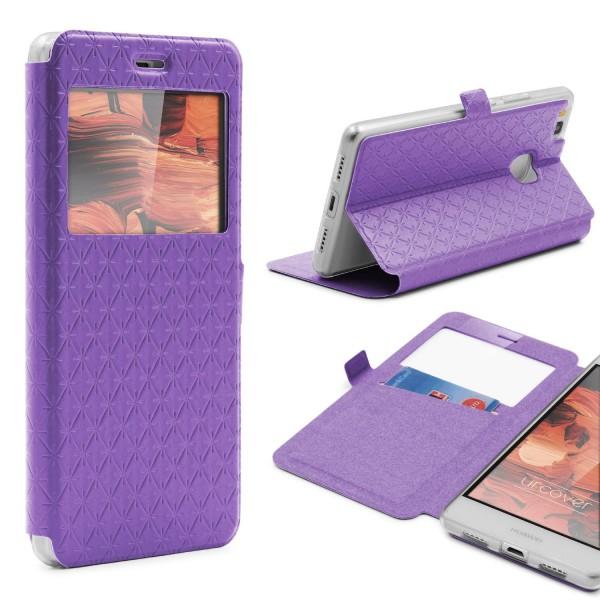 Huawei P9 Lite Sichtfenster Wallet Handy Schutz Hülle View Cover Flip Case Etui