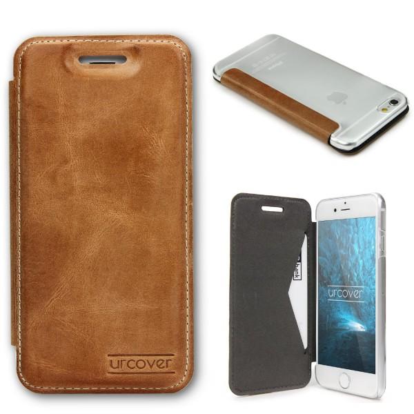 Apple iPhone 6 / 6s Echt Leder Schutz Hülle Case Cover klar Tasche Schale Etui
