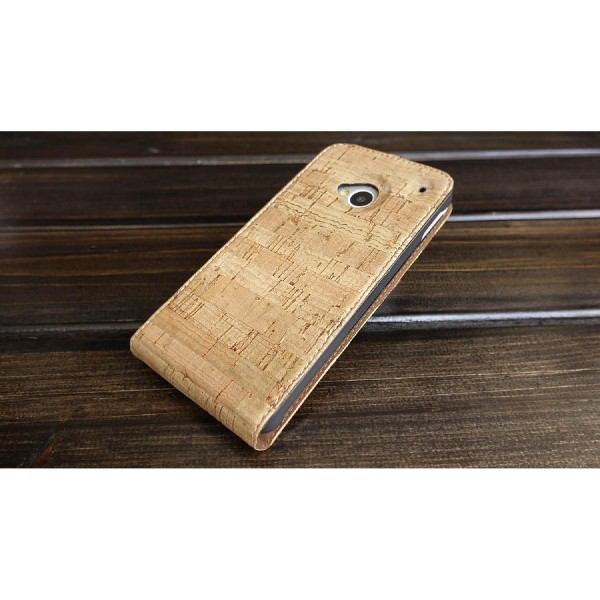 Urcover® HTC One M7 Kork Flip Schutz Hülle Case Cover Wallet Etui Schale