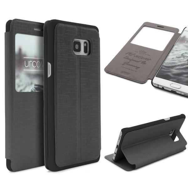 Urcover® Samsung Galaxy Note 7 View Case Schutz Hülle Wallet Cover Etui Tasche Struktur