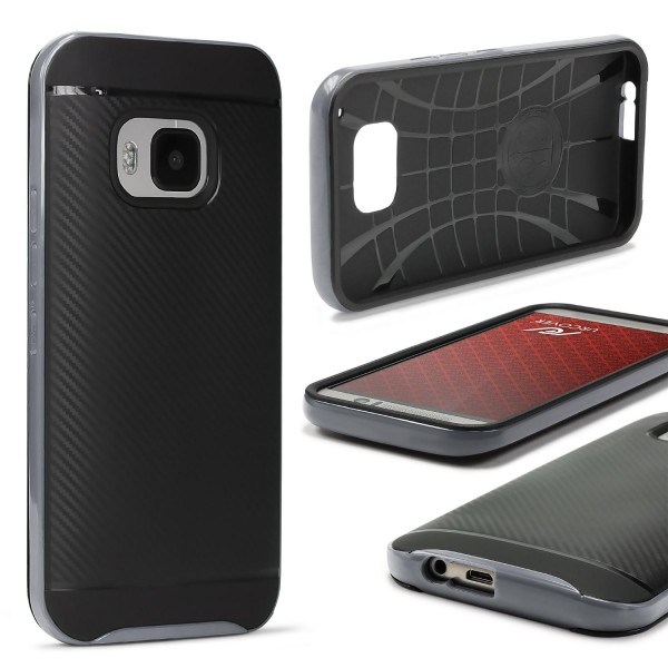 HTC One M9 Case Carbon Style Schutzhülle Cover Dual Layer TPU PC