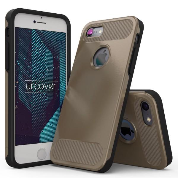Urcover®Apple iPhone 7 Carbon Optik Schutz Hülle Back Case Cover Dual Layer Etui